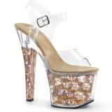 Gold 18 cm RADIANT-708HHG Hologram platform high heels shoes