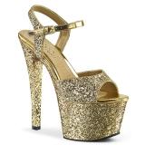 Gold 18 cm SKY-310LG glitter platform high heels shoes