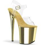 Gold 20 cm FLAMINGO-808 Chrome Platform High Heels