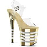 Gold 20 cm FLAMINGO-808CHLN High Heeled Sandal Chrome Platform