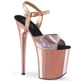 Gold 20 cm FLAMINGO-809HG platform pleaser high heels shoes