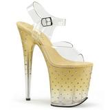 Gold 20 cm STARDUST-808T Acrylic Platform High Heeled Sandal