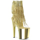 Gold 20 cm XTREME-1017RSF womens fringe ankle boots high heels