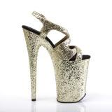 Gold 23 cm INFINITY-930LG glitter platform high heels shoes