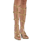 Gold 8 cm ROMAN-10 knee high womens gladiator sandals