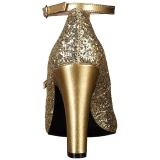Gold Glitter 10 cm QUEEN-01 big size pumps shoes