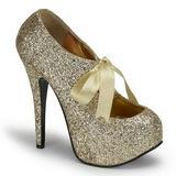 Gold Glitter 14,5 cm Burlesque TEEZE-10G Platform Pumps Shoes