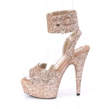 Gold Glitter 15 cm DELIGHT-691LG pleaser high heels with ankle straps