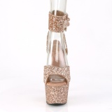 Gold Glitter 18 cm ADORE-791LG pleaser high heels with ankle straps