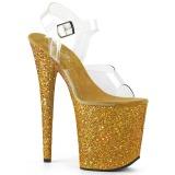 Gold Glitter 20 cm FLAMINGO-808LG Platform High Heeled Sandal Shoes