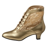 Gold Lace Fabric 5 cm DAME-05 Lace Up Ankle Calf Women Boots