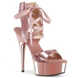 Gold Leatherette 15 cm DELIGHT-600-14 platform pleaser sandals