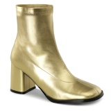 Gold Leatherette 7,5 cm GOGO-150 stretch block heels ankle boots