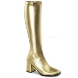 Gold Matte 8,5 cm GOGO-300 High Heeled Womens Boots for Men
