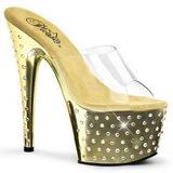 Gold Rhinestone Platform 18 cm STARDUST-701 Women Mules Shoes