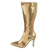 Gold Sequins 9,5 cm FUNTASMA LUST-2001SQ Women Knee Boots