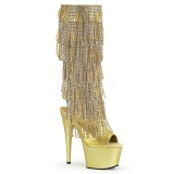 Gold Strass 18 cm ADORE-2024RSF womens fringe boots high heels