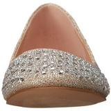 Gold TREAT-06 rhinestone flat ballerinas womens shoes