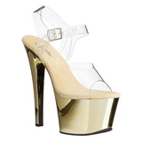 Gold Transparent 18 cm SKY-308 High Heels Platform