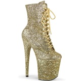 Gold glitter 20 cm FLAMINGO-1020GWR Exotic pole dance ankle boots