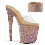 Gold rhinestone 20 cm BEJEWELED-812RS pleaser high heels with ankle cuff