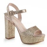 Goud 11,5 cm CELESTE-09 glitter sandalen met blokhak