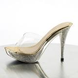Goud 11,5 cm ELEGANT-401 Strass steentjes plateau slippers dames