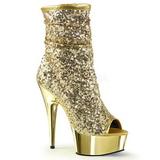 Goud 15 cm DELIGHT-1008SQ dames enkellaarsjes met pailletten