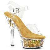 Goud 15 cm KISS-208GF glitter plateau sandalen met hak