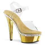 Goud 15 cm KISS-208RS-1 High Heels Chroom Plateau