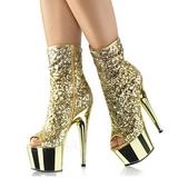 Goud 18 cm ADORE-1008SQ dames enkellaarsjes met pailletten