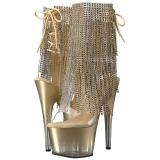 Goud 18 cm ADORE-1017RSFT dames enkellaarsjes met franjes