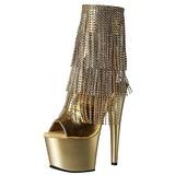 Goud 18 cm ADORE-1024RSF dames enkellaarsjes met franjes