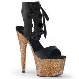 Goud 18 cm ADORE-700-14LG glitter plateau schoenen met hakken