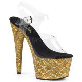 Goud 18 cm ADORE-708MSLG glitter plateau sandalen met hak