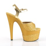 Goud 18 cm ADORE-709-2G glitter plateau sandalen met hak