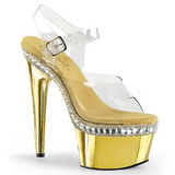 Goud 18 cm Pleaser ADORE-708RS-1 High Heels Chroom Plateau