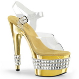 Goud 18 cm Pleaser ADORE-708RS-3 High Heels Chroom Plateau