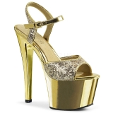 Goud 18 cm Pleaser SKY-310SQ Pailletten schoenen met hakken