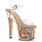 Goud 18 cm RADIANT-708BHG Hologram plateau schoenen dames met hak