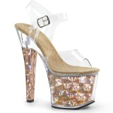 Goud 18 cm RADIANT-708HHG Hologram plateau schoenen dames met hak