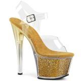 Goud 18 cm SKY-308G-T glitter plateau sandalen met hak