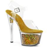 Goud 18 cm SKY-308GF glitter plateau sandalen met hak