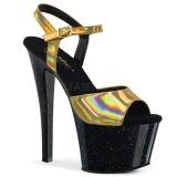 Goud 18 cm SKY-309HG Hologram plateau schoenen dames met hak