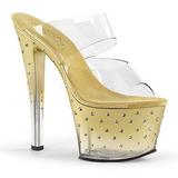 Goud 18 cm STARDUST-702T Strass steentjes plateau slippers dames