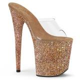 Goud 20 cm FLAMINGO-801LG glitter plateau slippers dames met hak