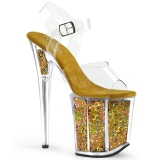 Goud 20 cm FLAMINGO-808GF glitter hoge hakken schoenen pleaser