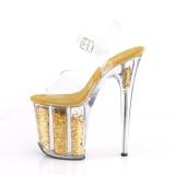 Goud 20 cm FLAMINGO-808GF glitter plateau schoenen dames met hak