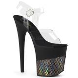 Goud 20 cm FLAMINGO-808HFN Hologram plateau schoenen dames met hak