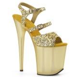 Goud 20 cm FLAMINGO-874 glitter plateau sandalen met hak